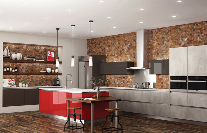 kitchen design layout, brick with red accents